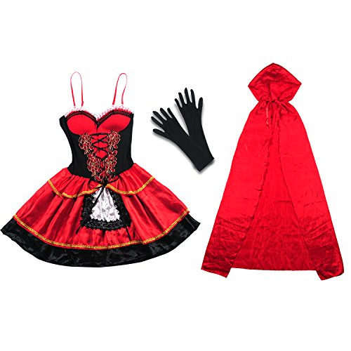 [Halloween Costume, Vitalismo Wench Little Hooded Cosplay Dress with Cape Glove] (Womens Western Costumes)
