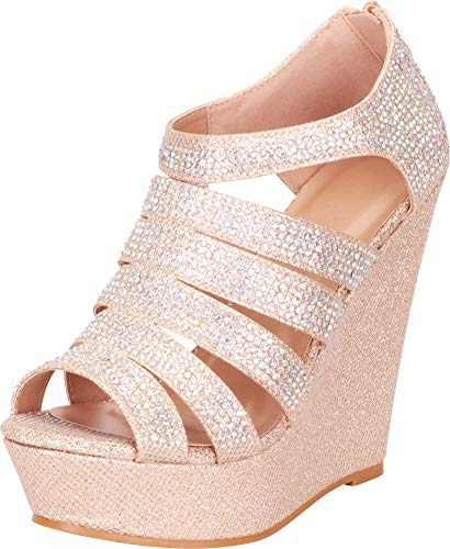 en's Open Toe Strappy Cutout Caged Crystal Rhinestone Chunky Platform Wedge Sandal (10 B(M) US, Champagne Glitter) ()