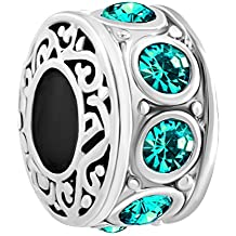 LuckyJewelry Filigree Charm 12 Colors Crystal Birthstone Spacer Round Beads Fit Charms Bracelet (May)
