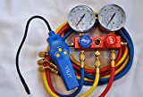 Popular Professional HVAC Service Tool Kit Set of 2 tools:Refrigerant Freon Leak Detector and R410a R22 Manifold Gauge Set Aluminum Alloy Frame w/5ft Hoses 1/4 Flare, Detect All Halogens