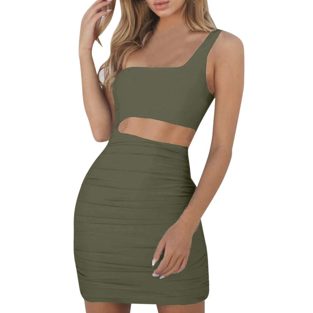 Yuwegr, Sexy Frauen Kleid Ärmelloses Trägerlos Abendkleider Figurbetontes Party Kleider Cocktailkleid Einfarbig Minikleid 10 Farbe XS-XL