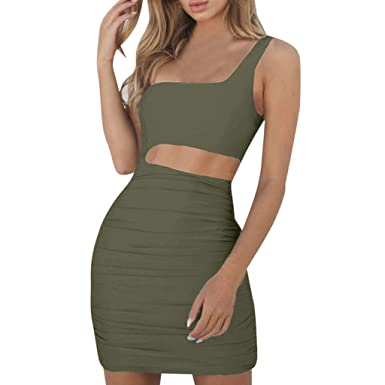 kanyankeji Women s Sexy One Shoulder Wrap Pary Bodycon Dress Waist Hollow  Out Mini Dress Army Green 744d0e535