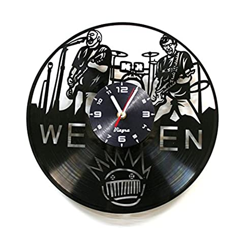 WEEN Vinyl Wall Clock Rock Music Room Decor Modern Wall Art Unique Vinyl Record Clock Rock Band Home Decorations Gift for Him Birthday Retro Music Vinyl Art Alternative Rock Wall (Country Lyrics Sticker)