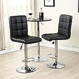 Allura Style Pair of Modern Bar Stools Adjustable PU Leather Barstools Swivel Pub Home Kitchen Dinning Chairs | Black