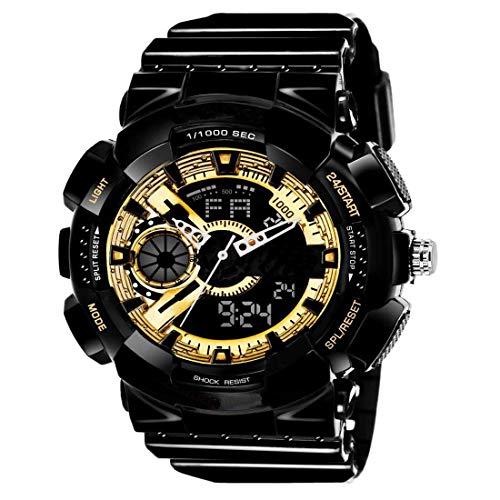 Mastrena Analog   Digital Black  amp; White Watch