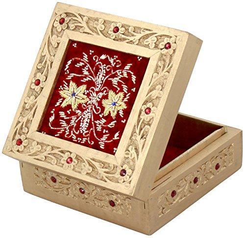 Fusion Pendant Light (RED JEWELRY BOX - BIG SALE - Wood Decorative Keepsake Trinket Oragnizer Storage Box with Beautiful ZARI WORK - Handmade VALENTINES GIFTS for Her)