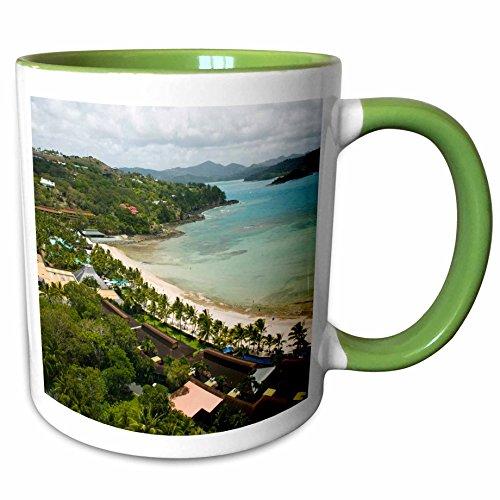 3dRose Danita Delimont - Coastlines - Australia, Whitsunday, Hamilton Island coastline-AU01 WBI0552 - Walter Bibikow - 11oz Two-Tone Green Mug (mug_71266_7) - Hamilton Island Light