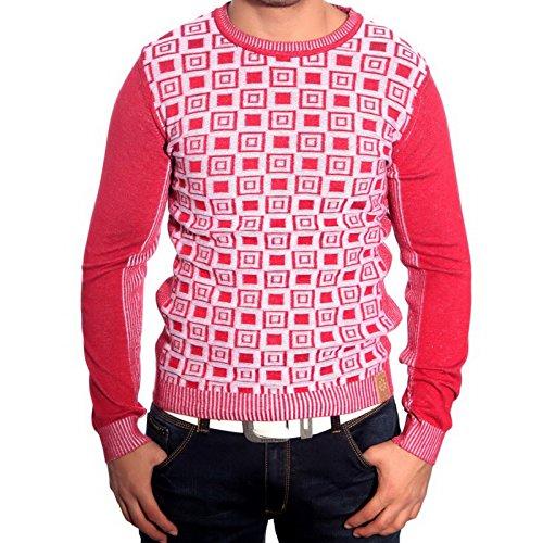 R-Neal RN-3178 Herren Pullover Karo Pulli Sweatshirt Jacke Hoodie T-Shirt Neu, Größe:L, Farbe:Rot