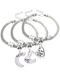 Bangle Bracelets Set Big Sis Middle Sis Little Sis Love Heart Charm Pendant for Sister 3pcs