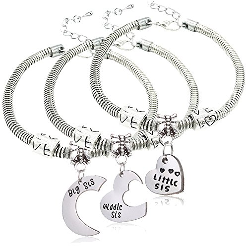 3pcs Big Sis Middle Sis Little Sis Love Heart Charm Pendant Bracelet Set Family Jewelry Gift for Sister