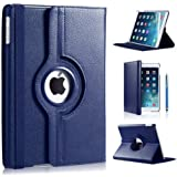 Apple iPad Mini / iPad Mini 2 PU Leather Wallet Smart Flip Case Cover with Free Screen Protector For Apple Ipad Mini /Mini 2/ Mini 3 (BLUE)