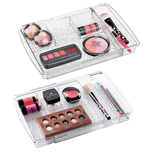 mDesign Expandable Makeup Organizer for Bathroom Drawers, Vanities, Countertops: Organize Makeup Brushes, Eyeshadow Palettes, Lipstick, Lip Gloss, Blush, Concealer - Adjustable Width, 2 Pack - Clear (Mess Up Your Lipstick Not Your Mascara)