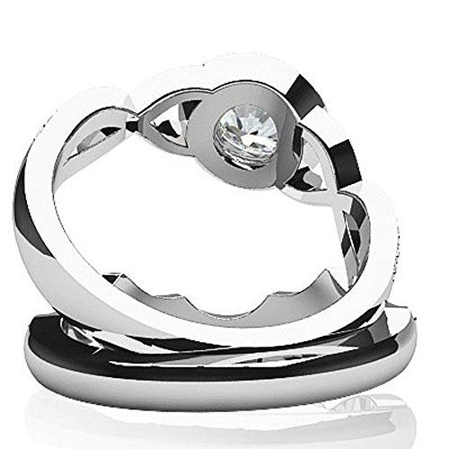 14K Or blanc Bracelet tressé rond de mariage Diamant