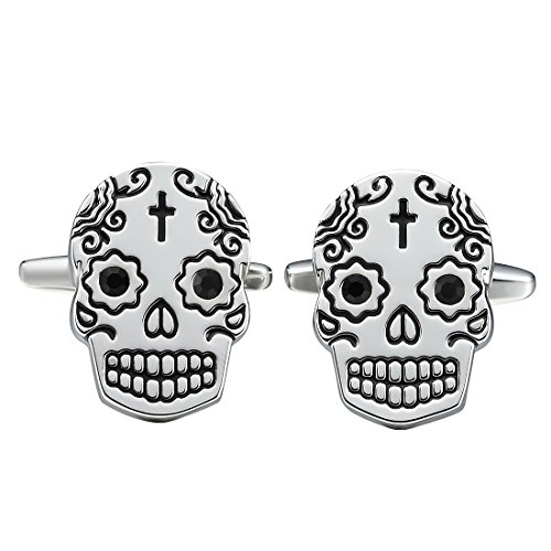 THREE KEYS JEWELRY Mens Skull Cufflinks Vintage Fashion Stylish Cuff Link for Business Wedding Shirt Dress