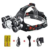 Best Sellers in Headlamps Super Bright 20000 Lumens Led Headlamp Flashlight,Super Bright Headlight ,Waterproof Hard Hat Light,5 Light 4 Modes, IMPROVED LED with Rechargeable Batteries for Camping Biking Hunting Fishing Outdoor Sports
