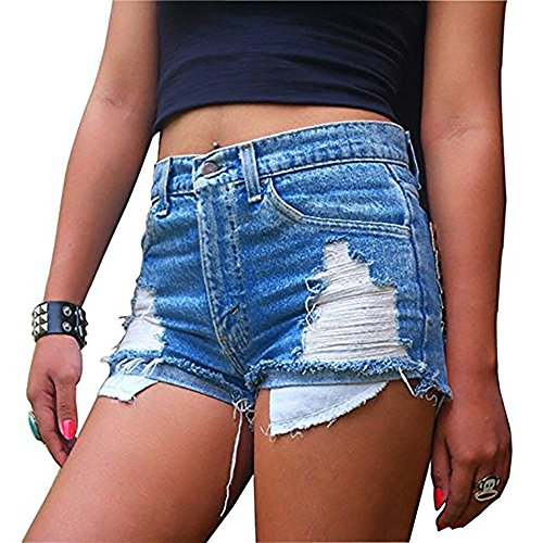 Women's Fashion Juniors Distressed Cut Off Ripped Sexy Jean Shorts High Waisted Denim Shorts (XX-large)