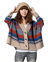 Bestor Fashion Women Indian Batwing Knits Multicolor Stripe Cardigan Sweater Knitwear