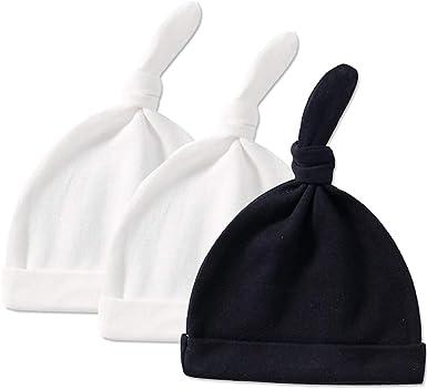 Gorro de recién nacido, unisex, de algodón, con nudo superior, ajustable, para niñas de 0 a 3 meses Blanco 2 piezas blanco y negro. 1 mes: Amazon.es: Ropa y accesorios