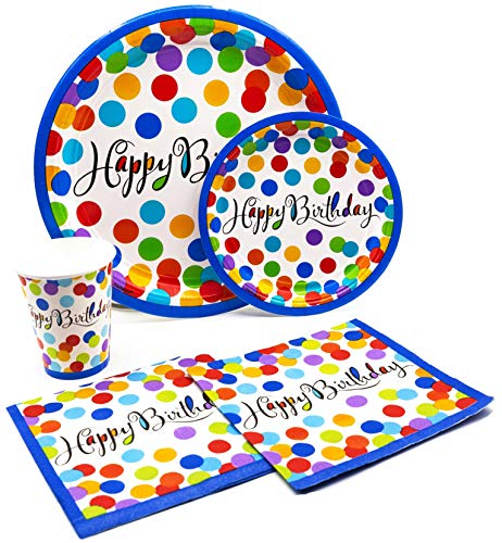 Birthday Paper Products (Happy Birthday Dots Pack! Disposable Paper Plates, Napkins and Cups Set for 17 (With free)