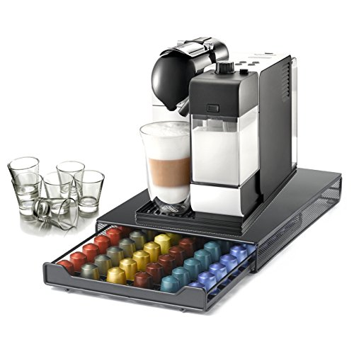 DeLonghi Lattissima Plus Capsule White Espresso and Cappuccino Machine with 60 Capsule Storage Drawer and Free Set of 6 Italian Espresso Shot Glasses