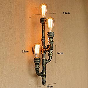 Yxx max Bedroom Wall lamp Water Pipe Wall Lamp, Retro Industrial Wind Aisle Study Corridor Restaurant Bar Iron Pipe Lights
