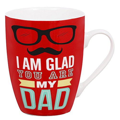 Mallvoler 12oz Mug Mens Gifts Presents Fathers Day Gifts Red Ceramic Coffee Cups with Saying I am Glad You Are My Dad