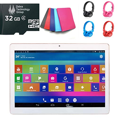 10.1″ Android 8.0 Tablet Bundle (Pale Blue), Starter Pack with Case, Headphones & Micro SD Card