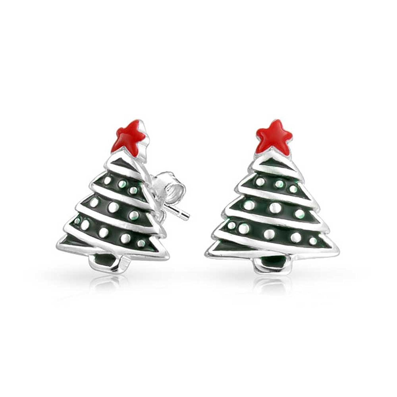 Amazon.com: Bling Jewelry Enamel Kids Christmas Tree Stud earrings ...