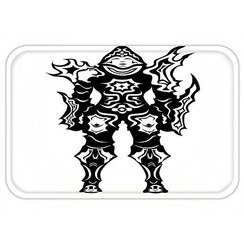 Demon Hunter Costume Male (VROSELV Custom Door MatVideo Game Illustration of a Man Demon Hunter in Black and White Battle Fantasy War Theme HeroeDecor Multi)