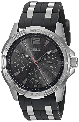 Dial Steel Stainless Buckle (GUESS Men's U0032G7 Sporty Silver-Tone Stainless Steel Watch with Multi-function Dial and Strap Buckle)