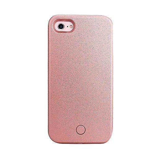 Caso selfie Luce iPhone 5 5s SE, TOPHAPPY caso selfie telefono con FaceTime [Oro Rosa]- illuminato telefono cellulare Custodia per iPhone 5 5s SE