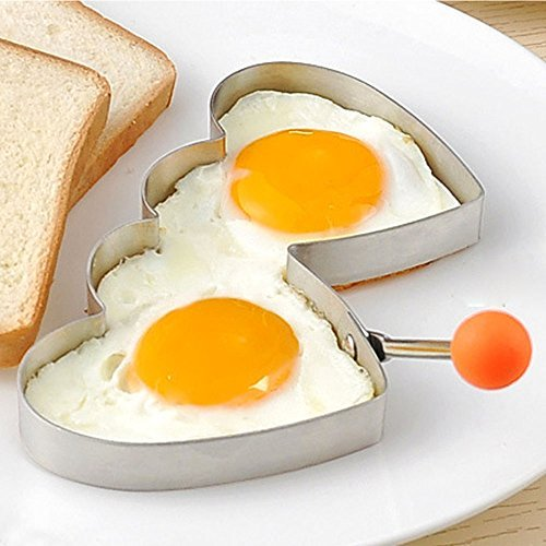 Double Loving Heart Ring - Guestway Egg Ring Mold Food Grade Stainless Steel 304 Double Hearts Safe Kitchen Cooking Tool Fun Romantic Breakfast