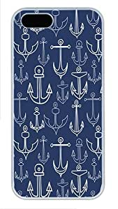 IMARTCASE iPhone 5S Case, Chevron With Anchor Navy Background Polycarbonate Back Case for Apple iPhone 5s/5 White