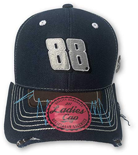 - Checkered Flag Dale Earnhardt Jr. #88 Women's Distressed Denim Adjustable Self Strap Hat