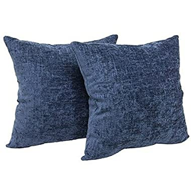Mainstays Chenille 18  x 18  Decorative Pillow, Set of 2, (Navy)