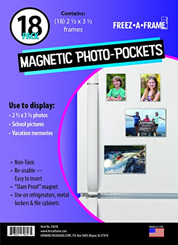 "18 Magnetic Display Bar (Freez A Frame Clear Magnetic Picture Frame Pockets For Refrigerator School Locker, or any Magnetic Surface 18 Pack Holds 2.5"" x 3.5"" Photos (2.5 x 3.5))"
