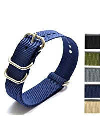 New Arrival Heavy Duty Watchband Military Quality Nylon 5 Ring ZULU NATO G10 Watch Strap 18mm 20mm 22mm 24MM (blue, 18mm)