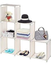 UMI. 6 Cubo Organizador, 3 nivles estante de almacenamiento Librería Cabinet Book Libro armario organizador de estante, Beige