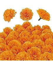 Kunstmatige Goudsbloem Bloemen Hoofden Bulk Zijde Kunstbloemen Goudsbloemen Decoratie Set Oranje Nep Bloemen voor DIY Bruiloft Deor - 30PCS