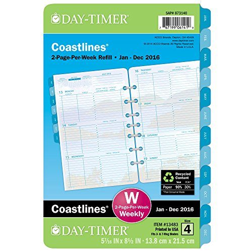 Day-Timer 2-Page-Per-Week Refill 2016, 12 Months, Loose-Leaf, Desk Size, 5.5 x 8.5 Inches, Coastline (13483)