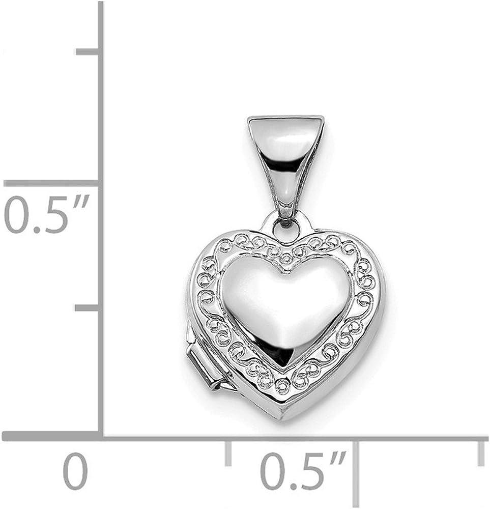 Mia Diamonds 14k White Gold Polished Heart-Shaped Scrolled Locket