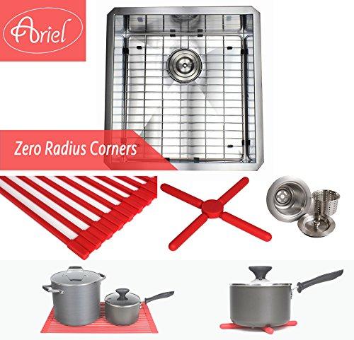 Ariel 19 Inch Zero Radius Design 16 Gauge Undermount Single Bowl Stainless Steel Kitchen Bar Prep Island Sink Premium Package