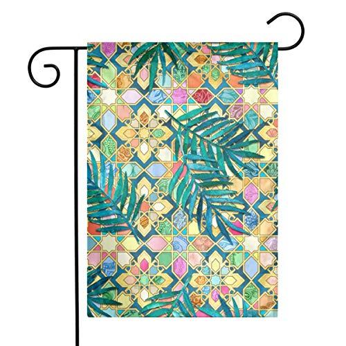 Gilded Moroccan Mosaic Tiles Art Garden Flag Yard Flag 12