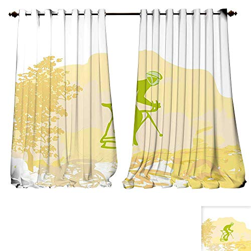 fengruiyanjing-Home Waterproof Window Curtain Teenage Sports Theme Grunge Poster a Cyclist Illustration Ative Design Art Lime Green Yellow Blackout Draperies Bedroom (W120 x L72 -Inch 2 Panels) ()