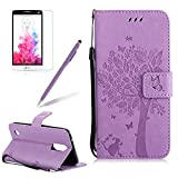 Case For LG K20 V / LG K20 PLUS / LG LV5 / LG K10 2017 / LG Harmony / LG Grace,Girlyard Cat Tree Embossed Butterfly Flower PU Leather Flip Folio Wallet Stand with Magnetic Clasp [Lanyard],Light Purple