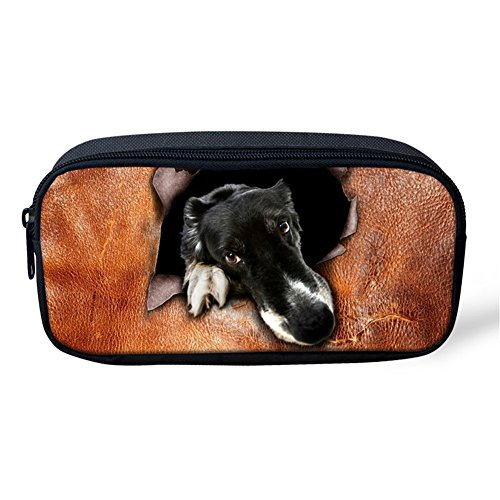 Pencil Pen Case Travel Cosmetic Makeup Bag Pouch Holder Box Organizer Leather Border Collie Dog (Gift Collie Box)