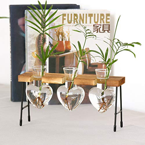 Nesee Heart Shape Glass Hydroponic Vase Flower Plant Pot Wooden Tray Desk Decoration Tall Vases Crystal Vase Flower vase, Decorative Centerpiece for Home, Business, Events or Weddings (C)