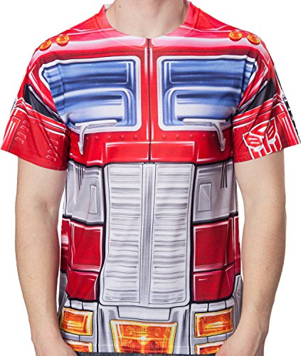 [80sTees Men's Transformers Sublimation Optimus Prime Costume T-Shirt Red Small] (Optimus Prime Costume T Shirt)