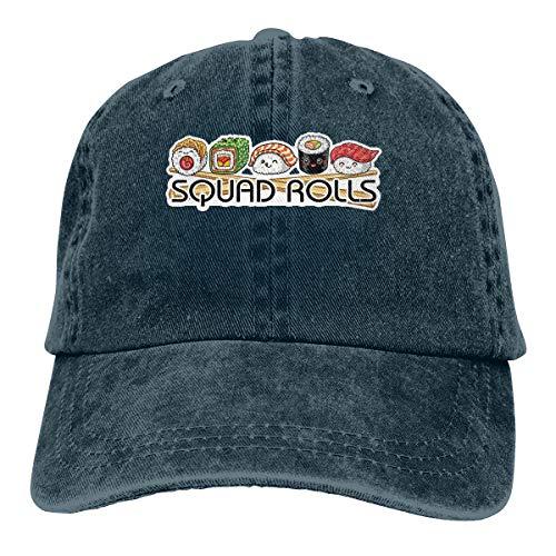 (Ejiazhan7 Squad Rolls Sushi Retro Adjustable Cowboy Denim Hat Unisex Hip Hop Navy Baseball Caps)