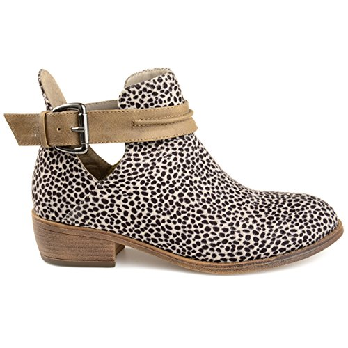 Brinley Co. Womens Myra Faux Suede Stacked Heel Booties Leopard, 6 Regular US (Brinley Co Womens Ankle Multi Strap Boots)